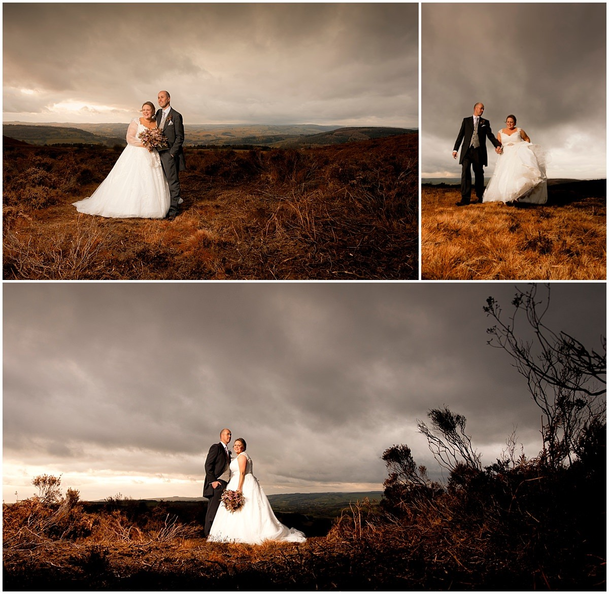 Bride and groom on the moors