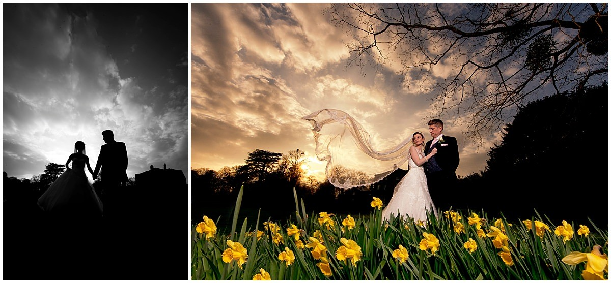 Norwood Park Sunset with bride and groom