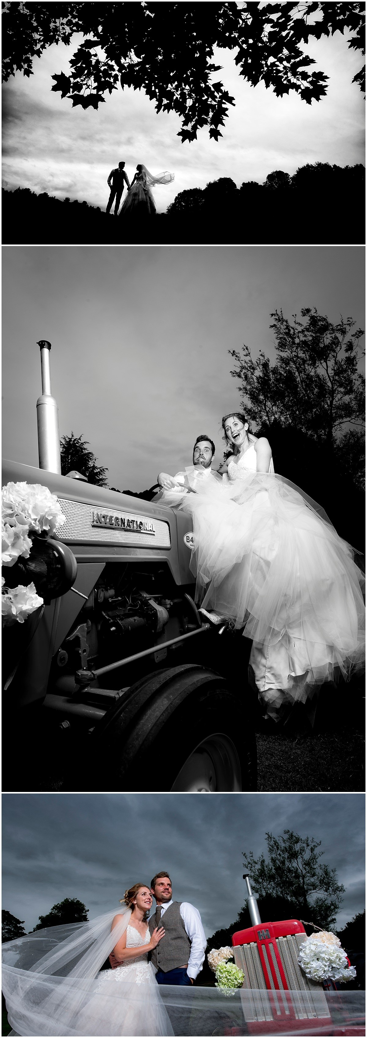Bride and Groom Portrait on tractor