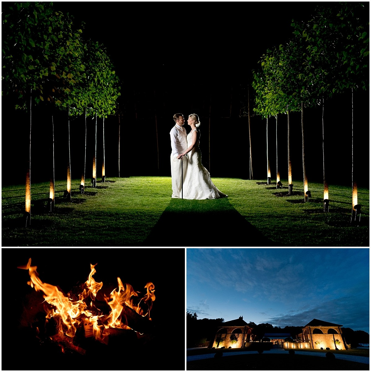 Night shot of bride and groom at Hazel Gap Barn