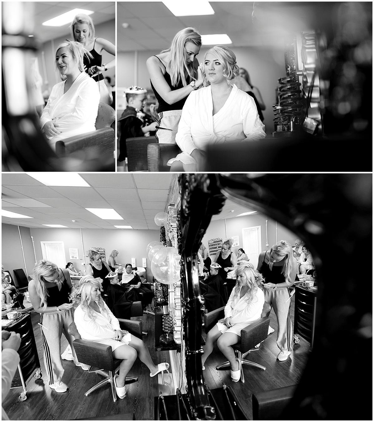 bridal preparations in black and white