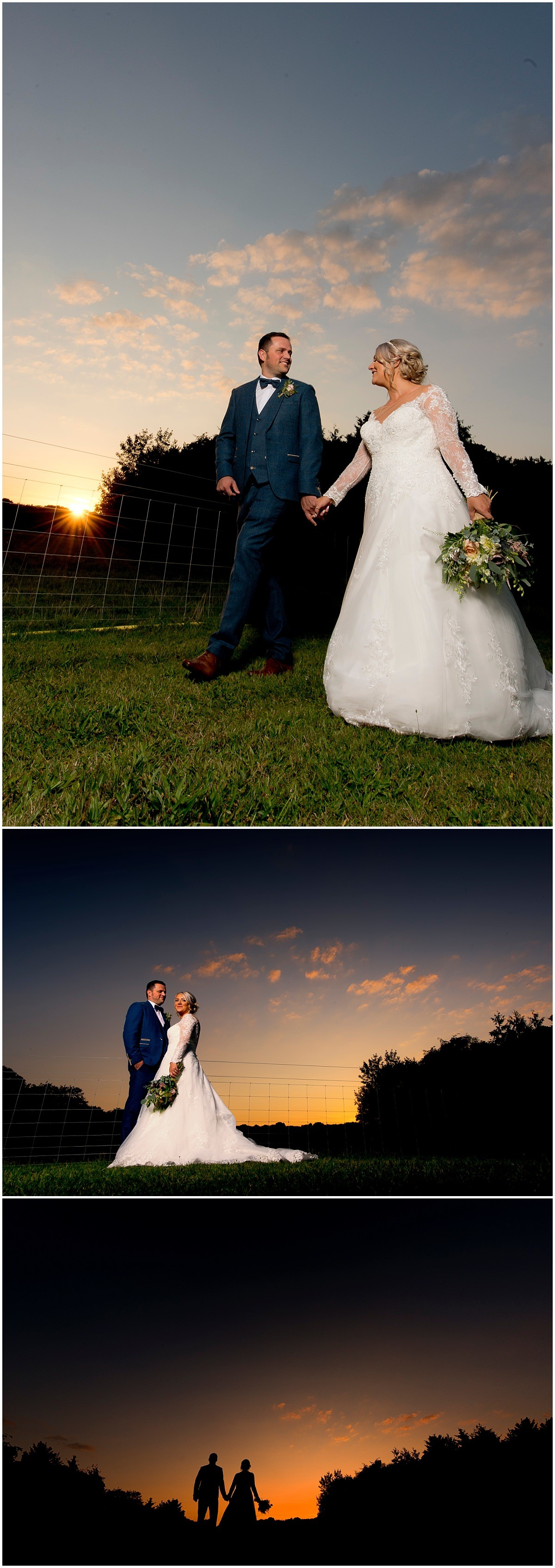 Creative bride and groom portraits at Hazel Gap Barn