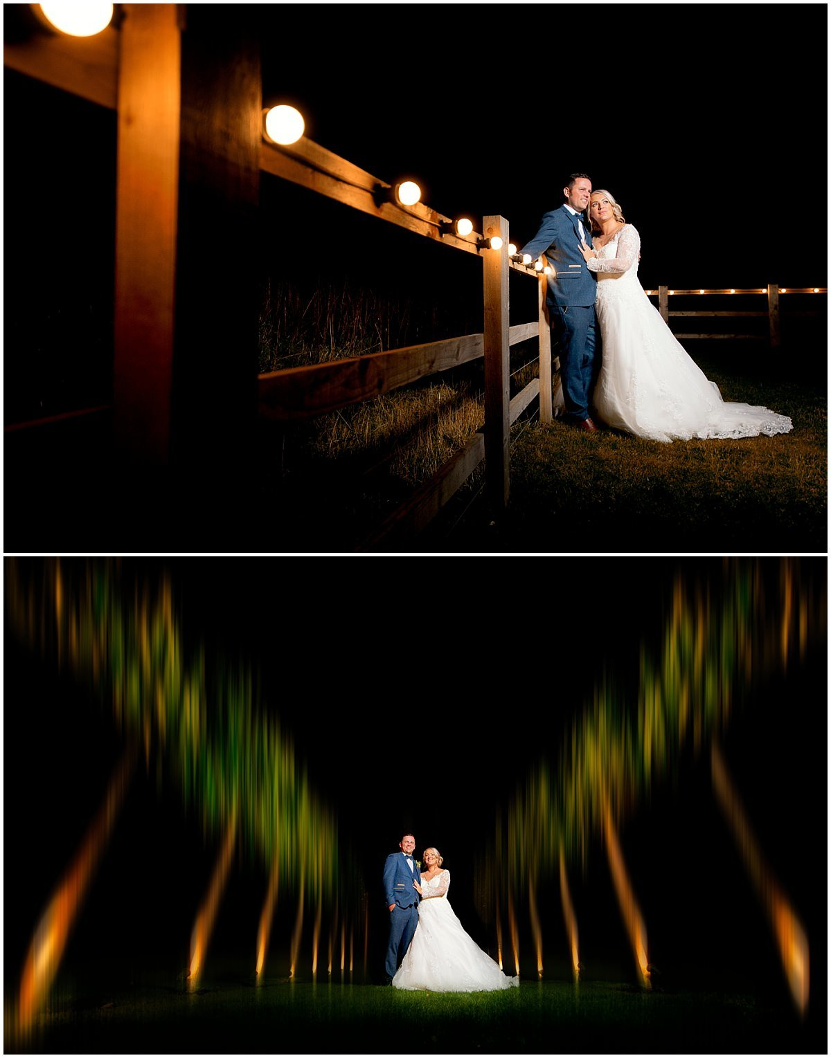 Wedding at Hazel Gap Barn creative night shots