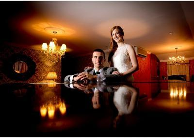 Creative bride and groom portrait in St James Hotel Nottingham