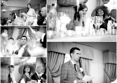 Black and white speeches during the wedding reception