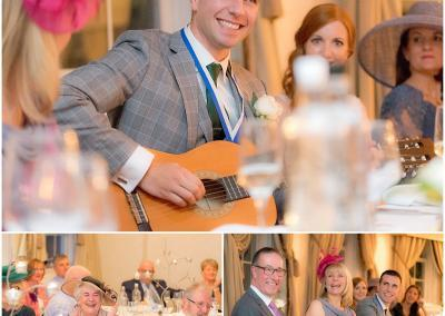 Speeches and guitar playing during the evening reception
