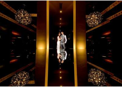 creative bride and groom portrait in the hotel