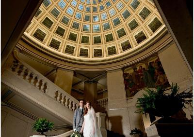 Bride and groom photograph at Nottinghams Council House