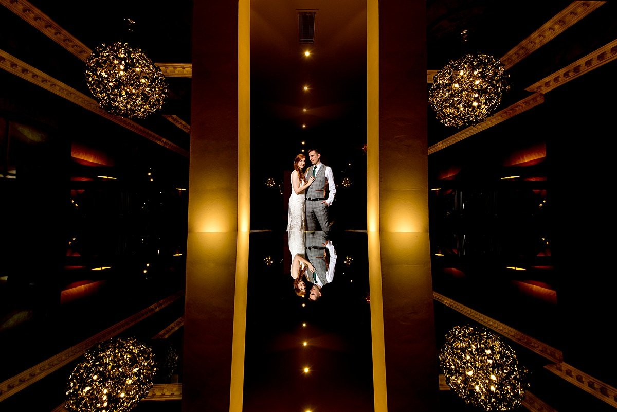 Symmetrical Bride and groom portrait