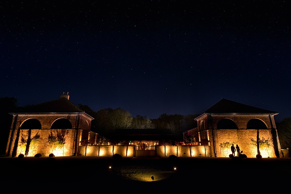 Hazel gap barn venue at night