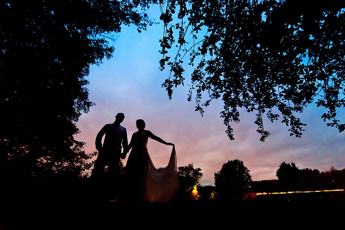 Bride and groom Sunset portrait