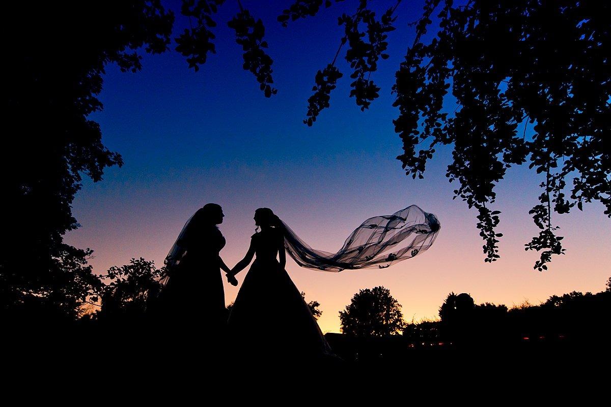 Brides night silhouette