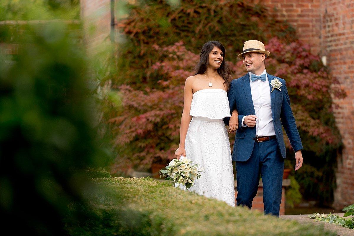 Bride and groom portrait at Yeldersley Hall