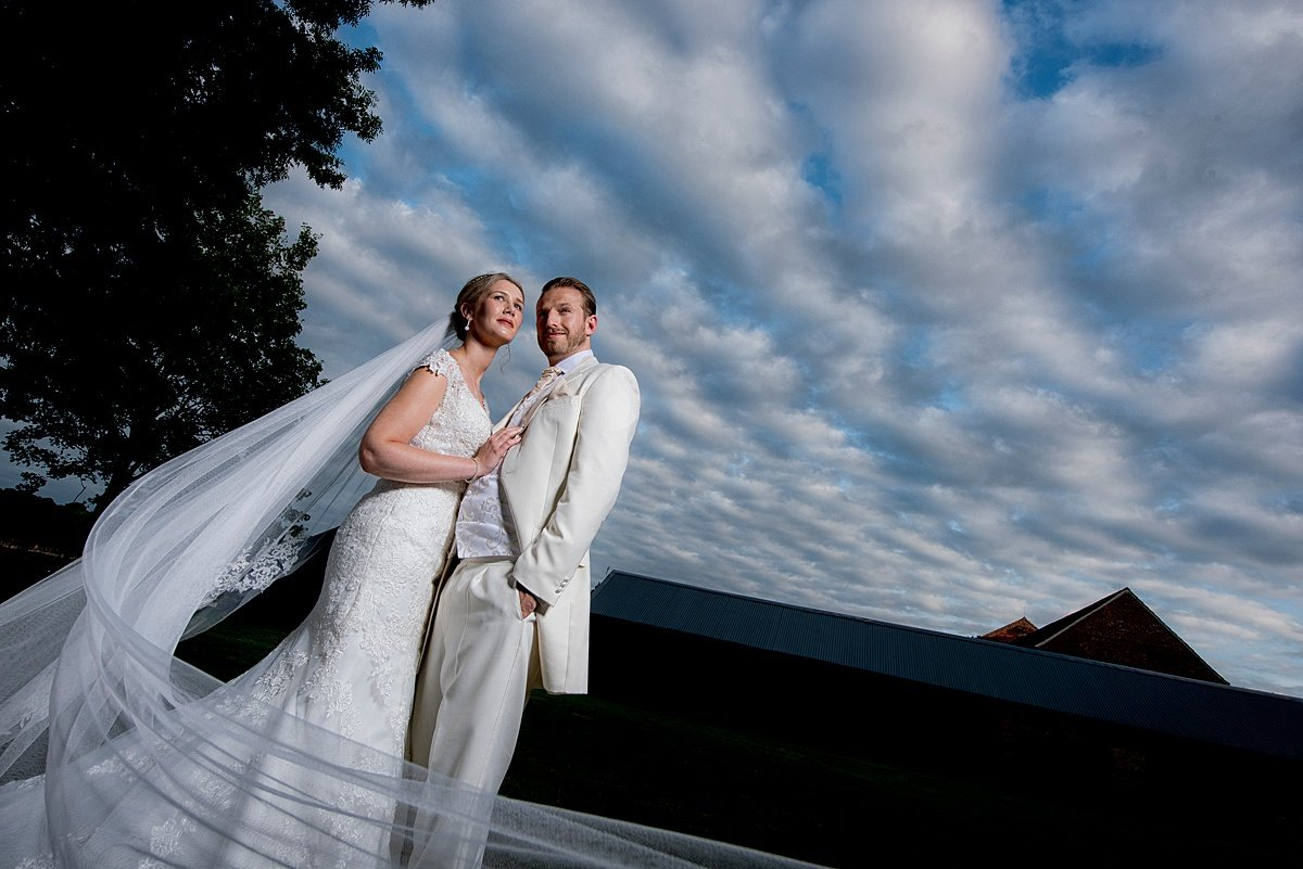 Bride and groom portrait at hazel gap barn