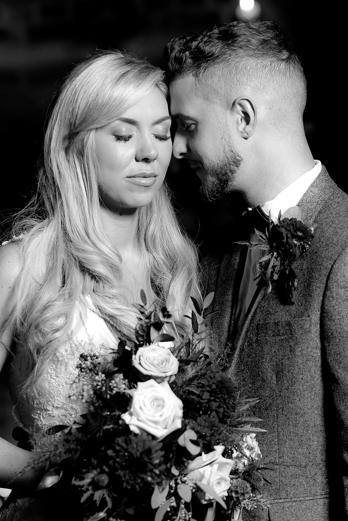 Mono wedding photograph of bride and groom