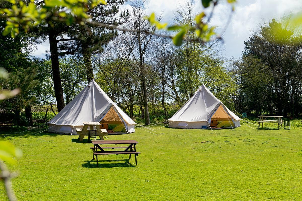 Bell tents in summer