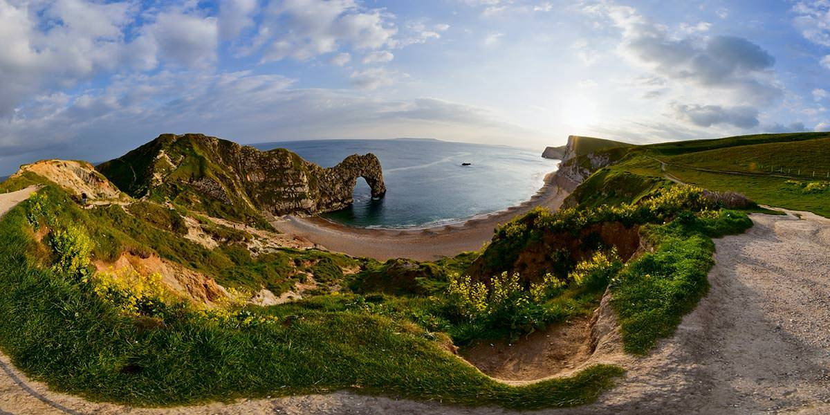 Panoramic of Durdle Door in Dorset