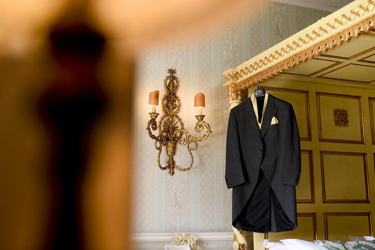 Grooms suit hanging