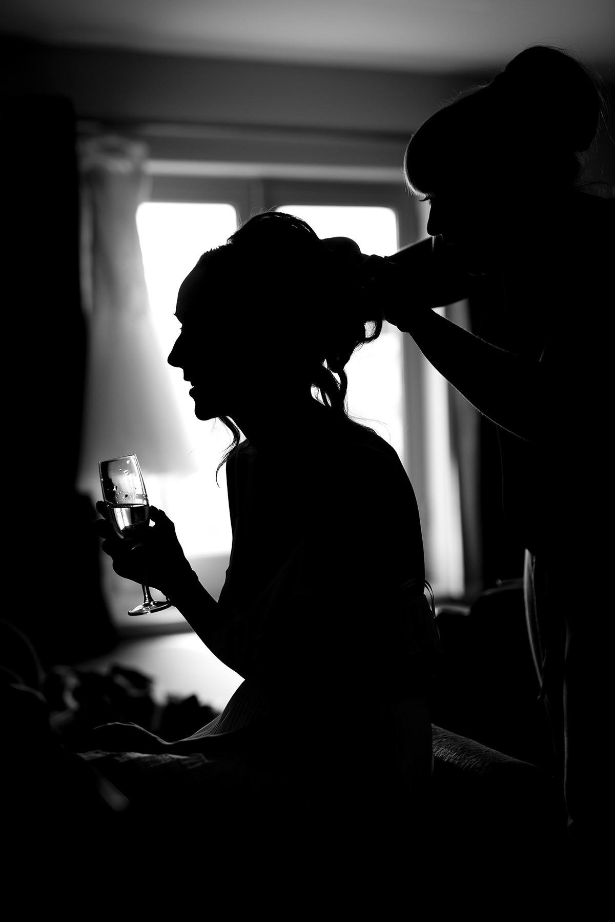 Bride prep silhouette