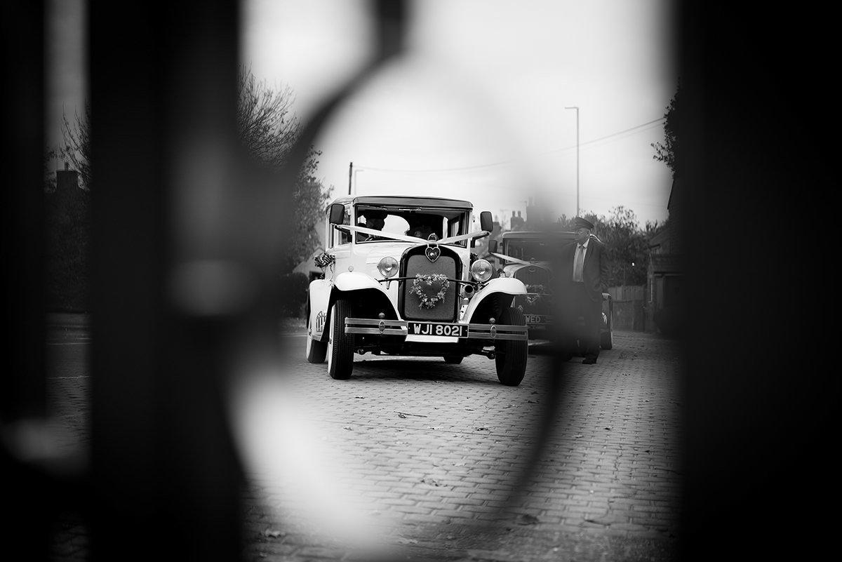 Documentary wedding photography in Nottingham & Derby car