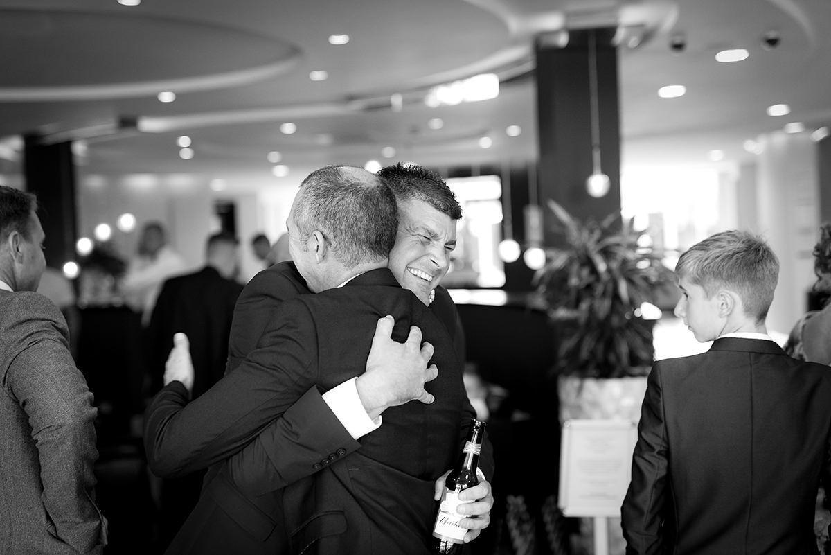 Documentary wedding photography in Nottingham big hug