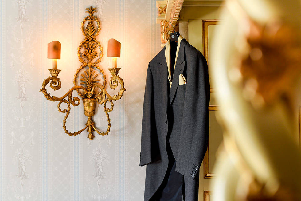 Groom suit hanging at Norwood Park