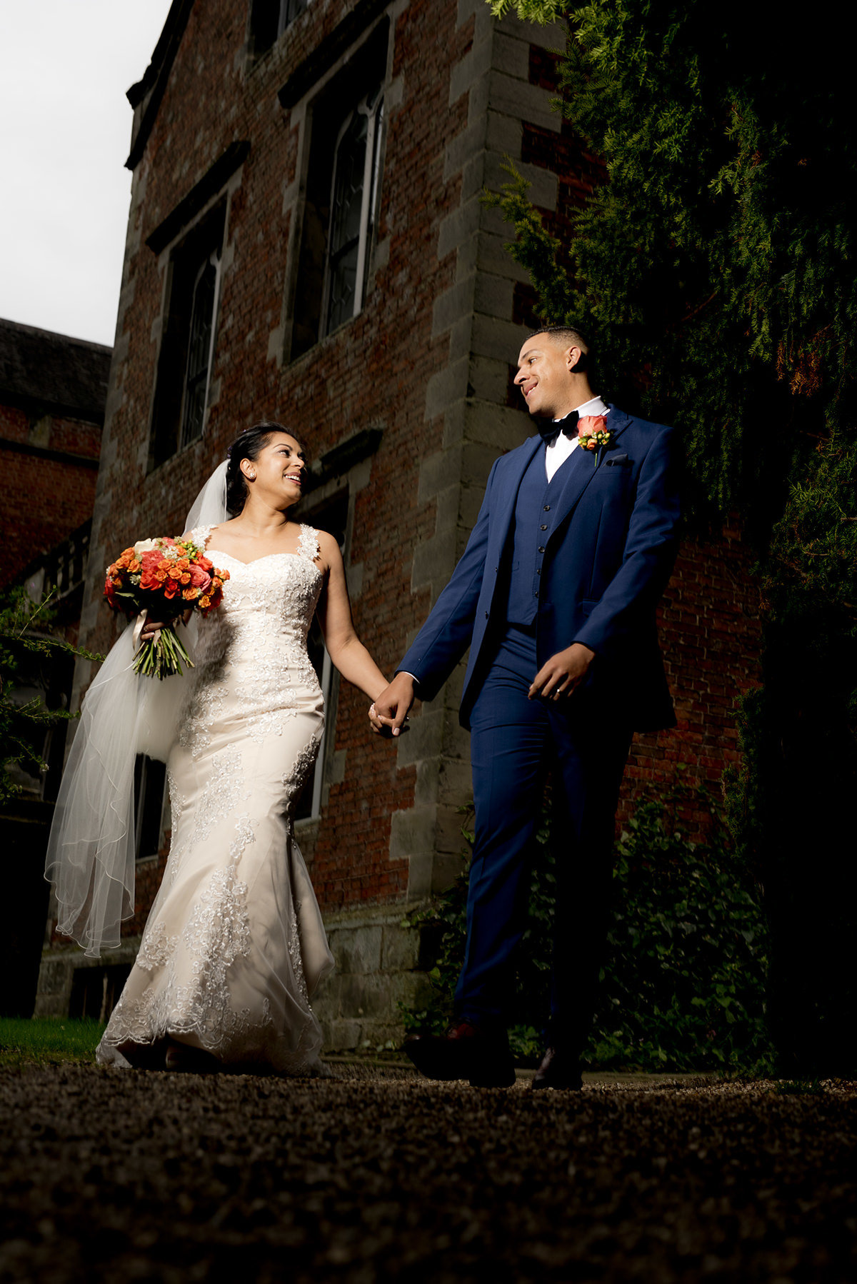 Bride and groom at Thrumpton Hall
