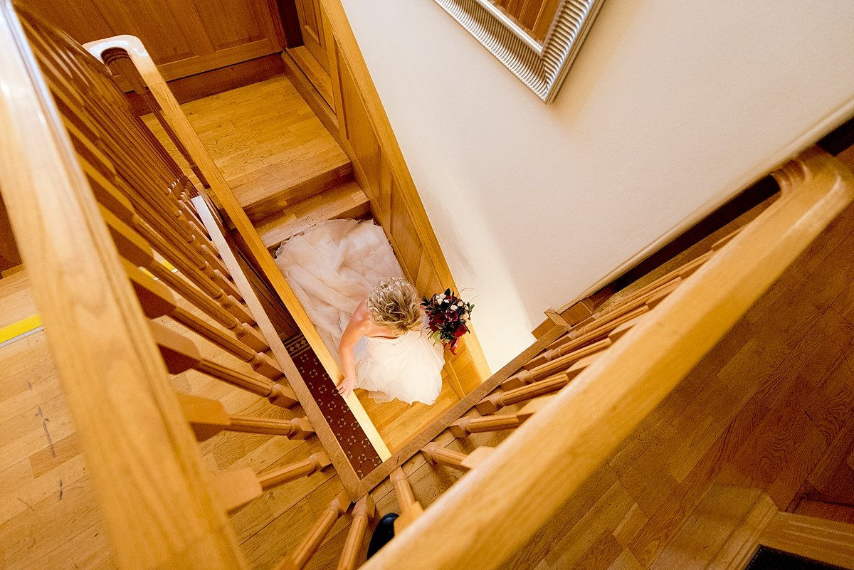 Swancar Farm Wedding Photography bride stairs