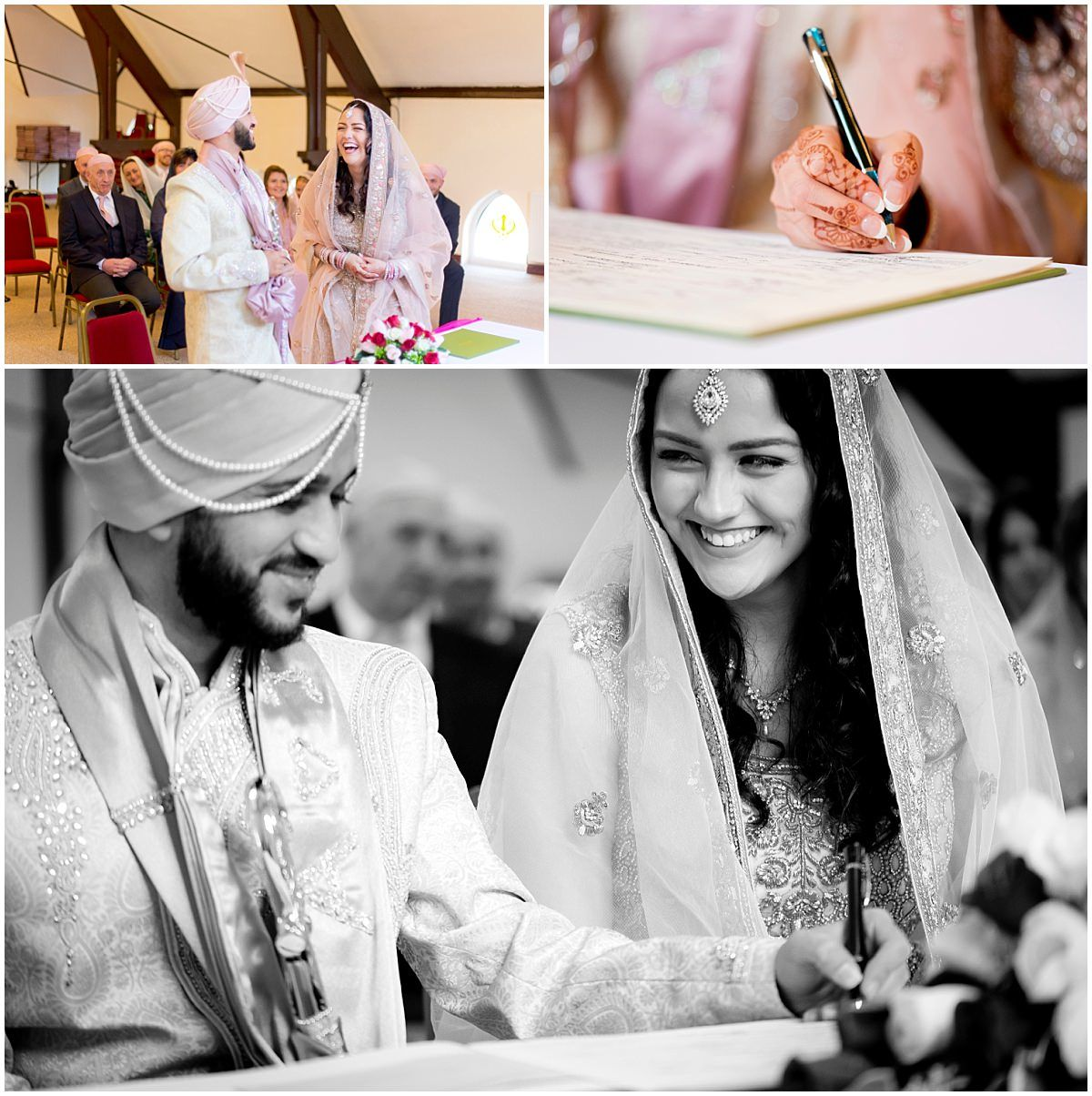Sikh Wedding in Nottingham signing the register