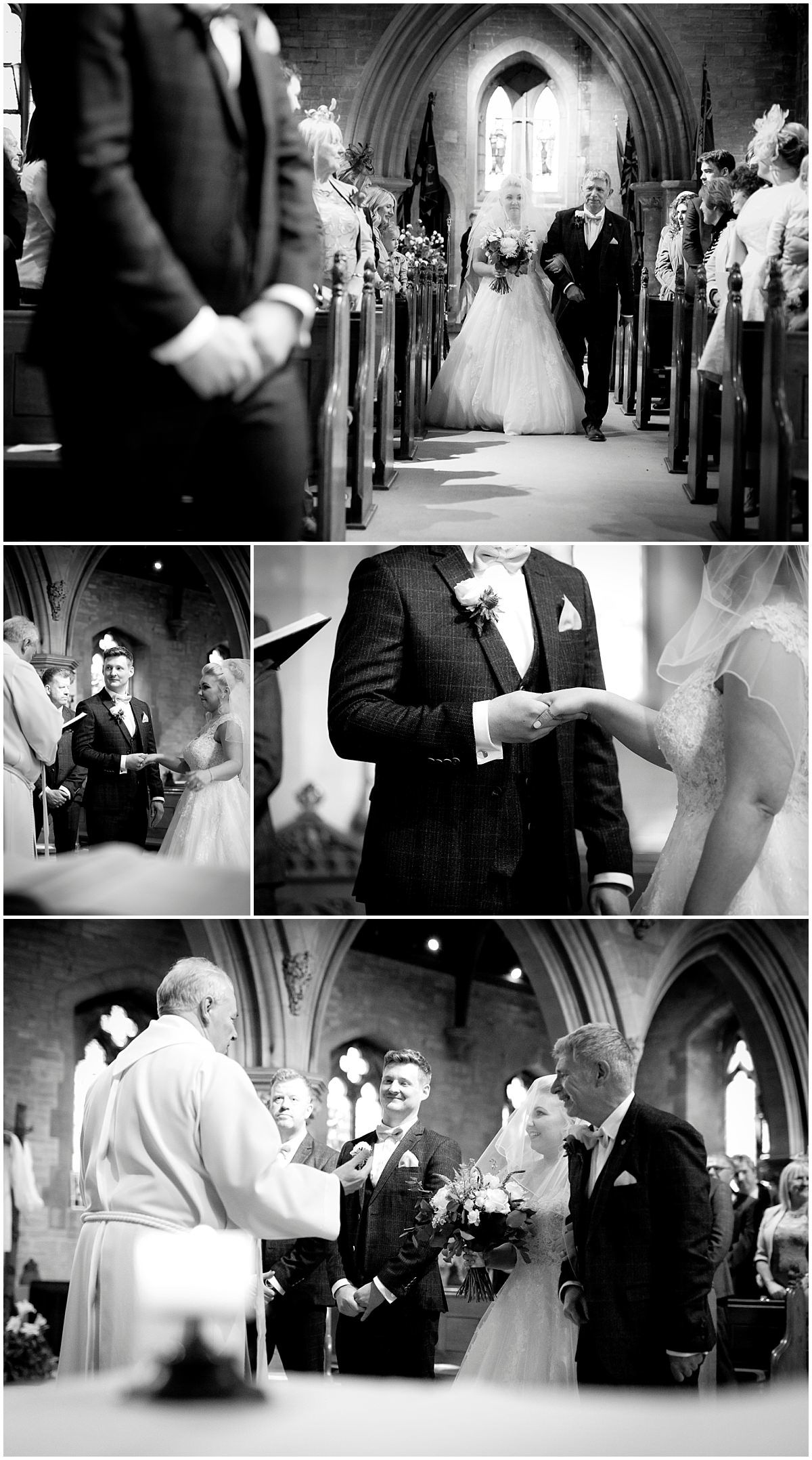 Church ceremony in black and white