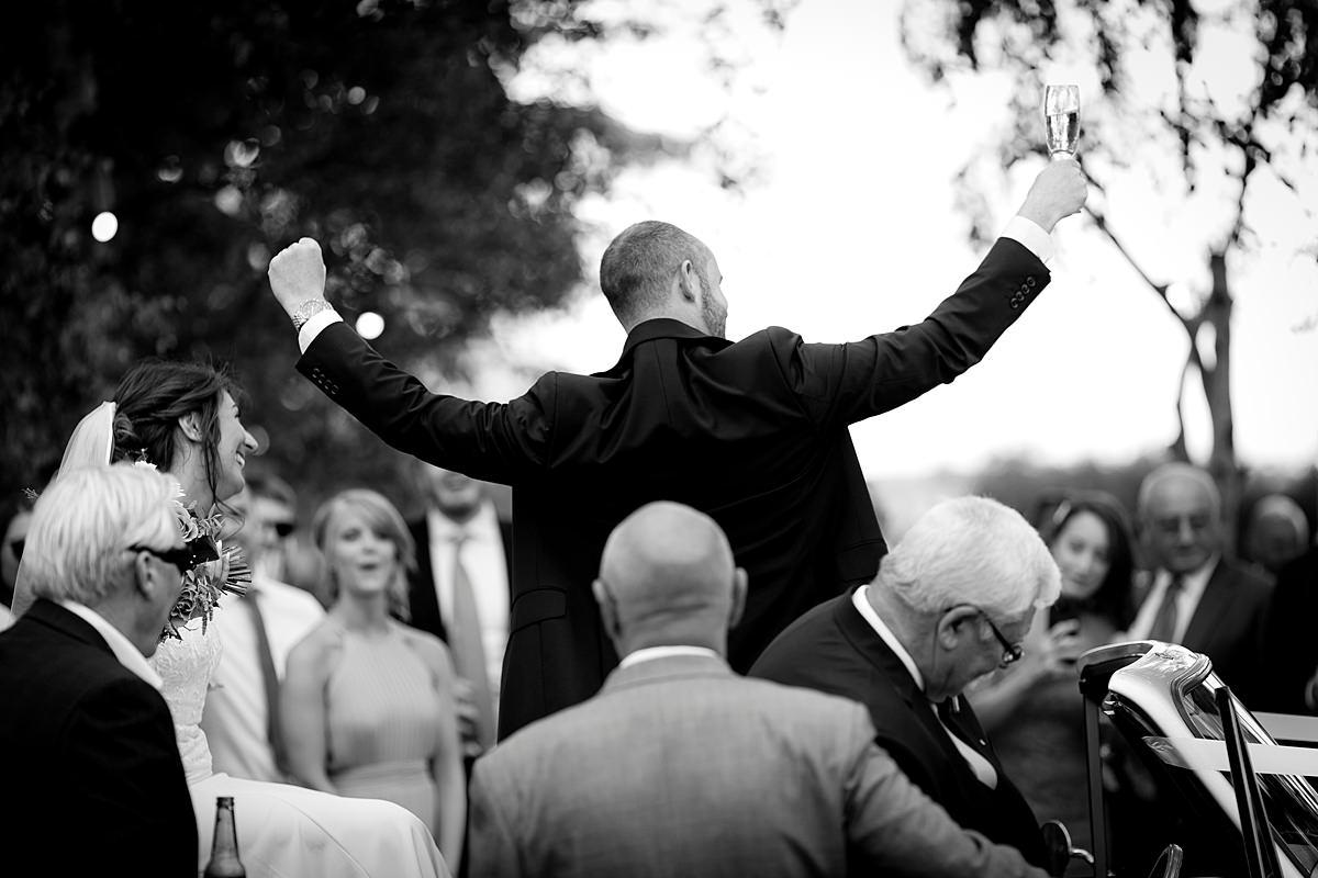 Groom cheering