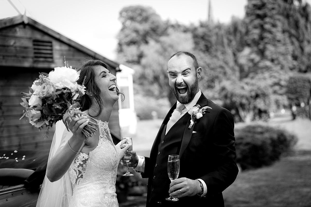 Ecstatic bride and groom