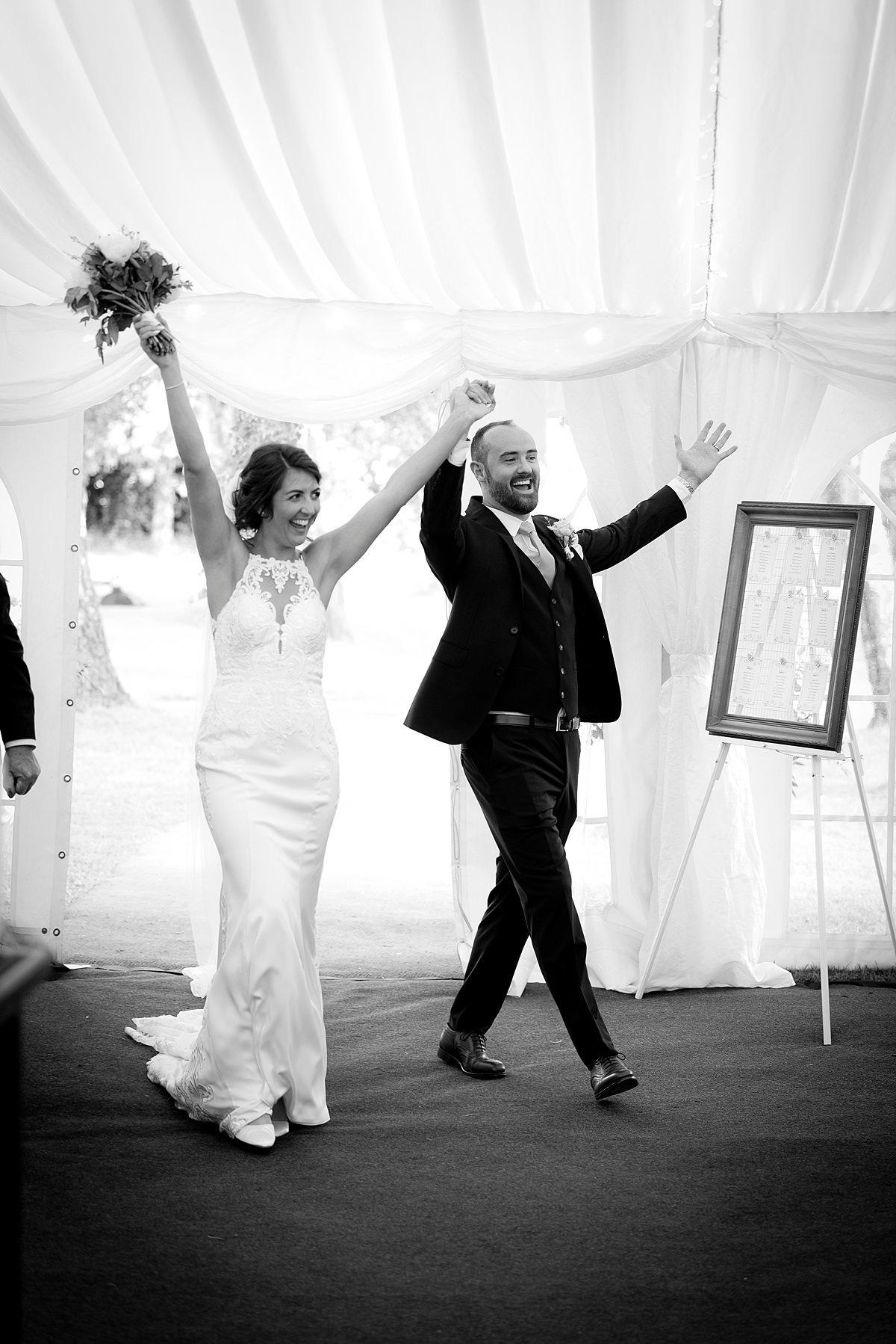 happy bride and groom entry