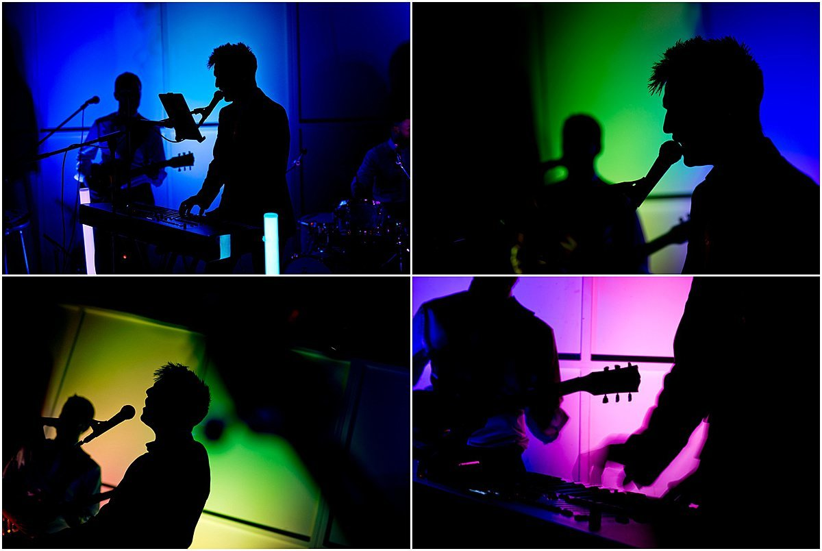 Band silhouettes in colour