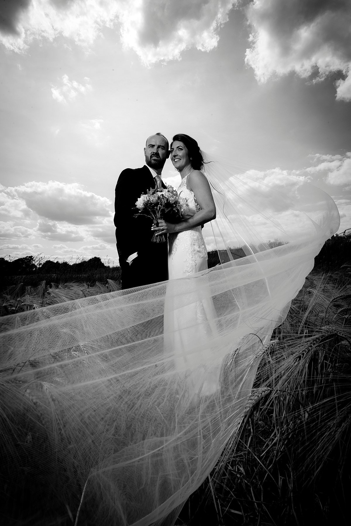 Bride and groom portrait in B&W