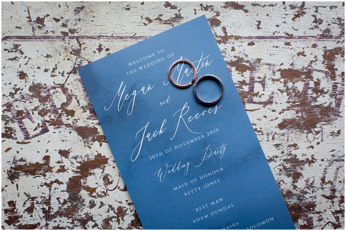rings and name card