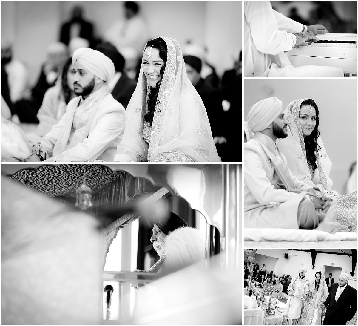Sikh Wedding Ceremony in black and white