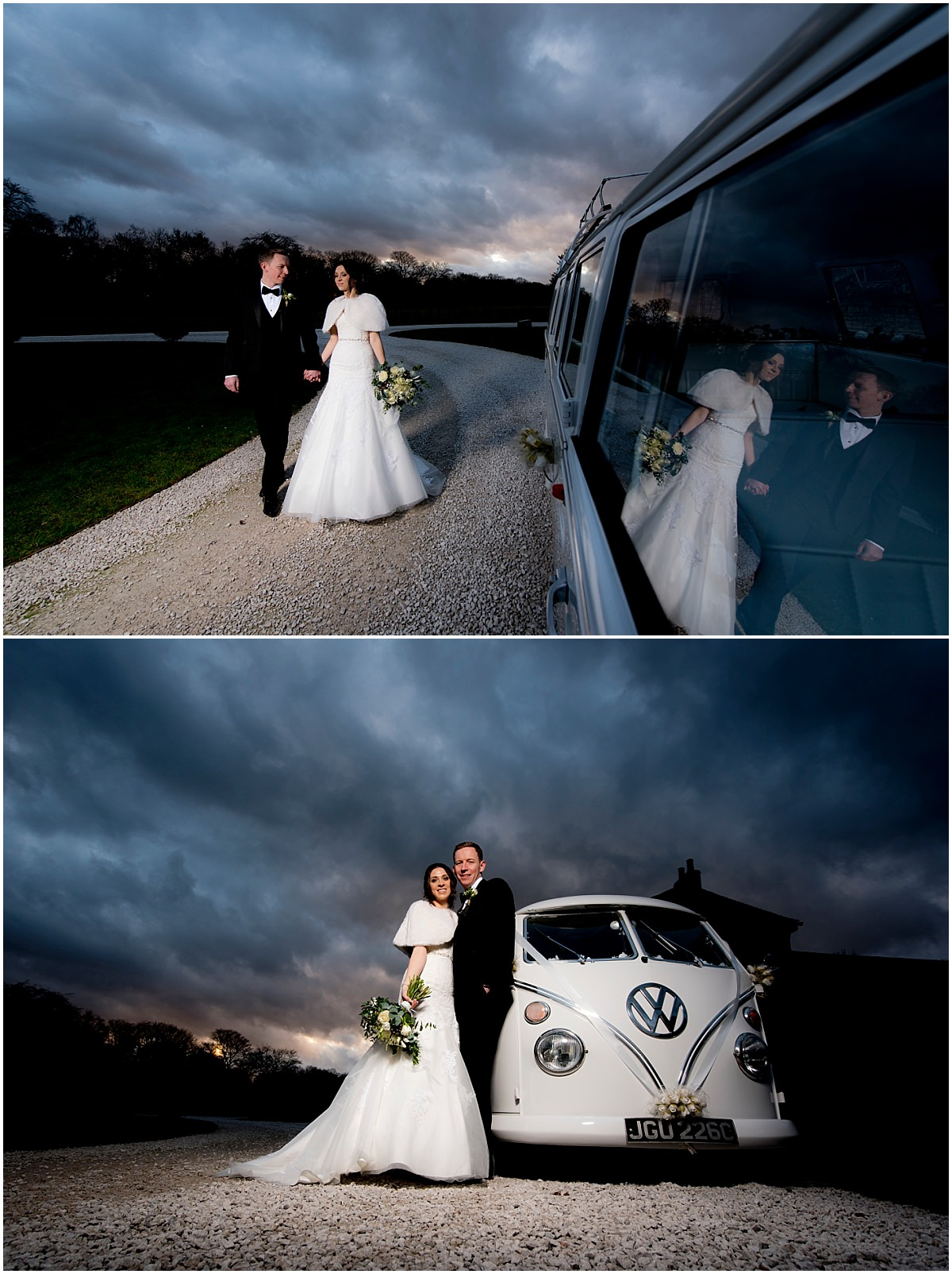 Winter Wedding at Hazel Gap Barn campervan