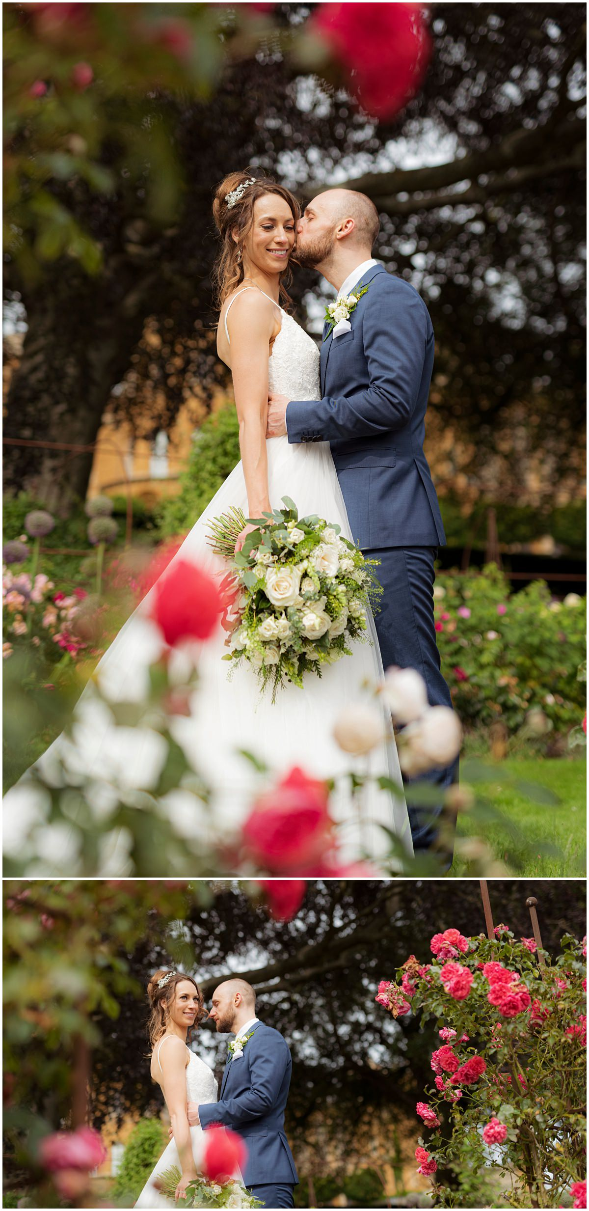 Rose garden with bride and groom
