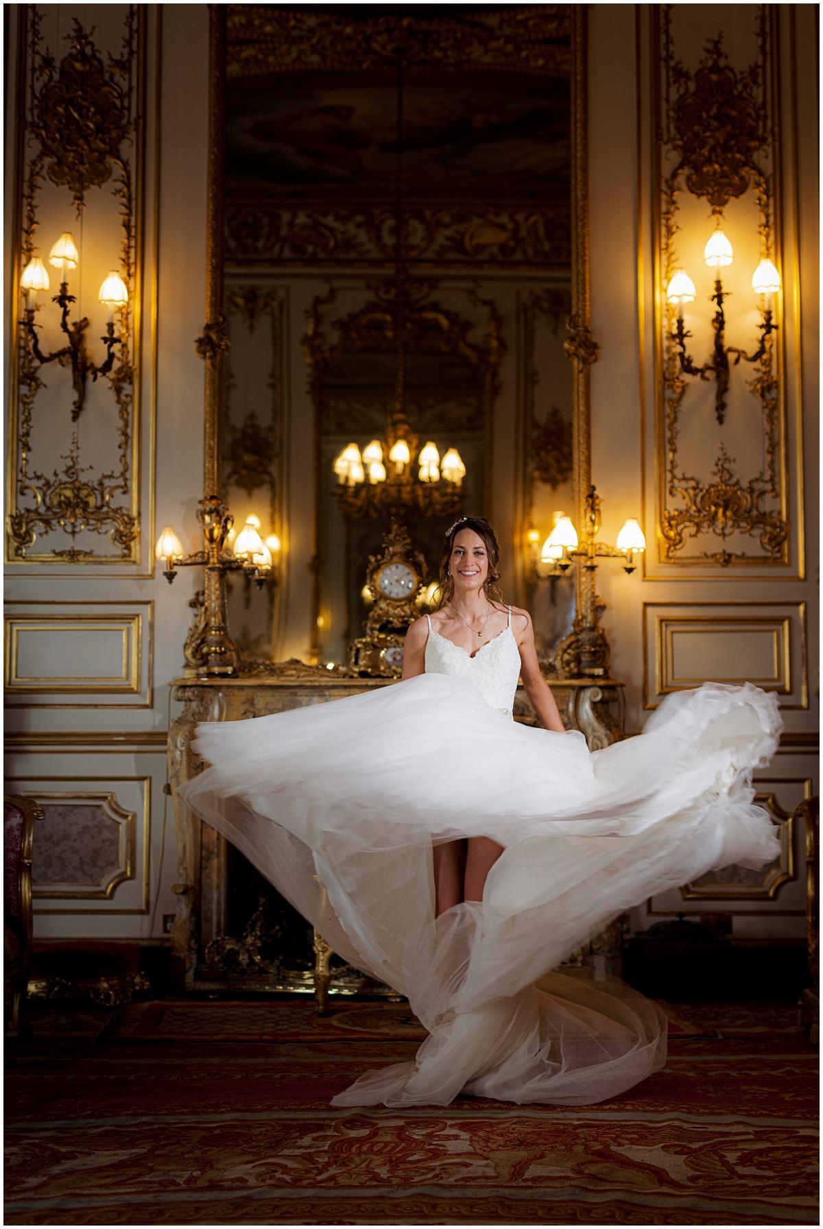 Belvoir Castle Wedding Photography dress twirl