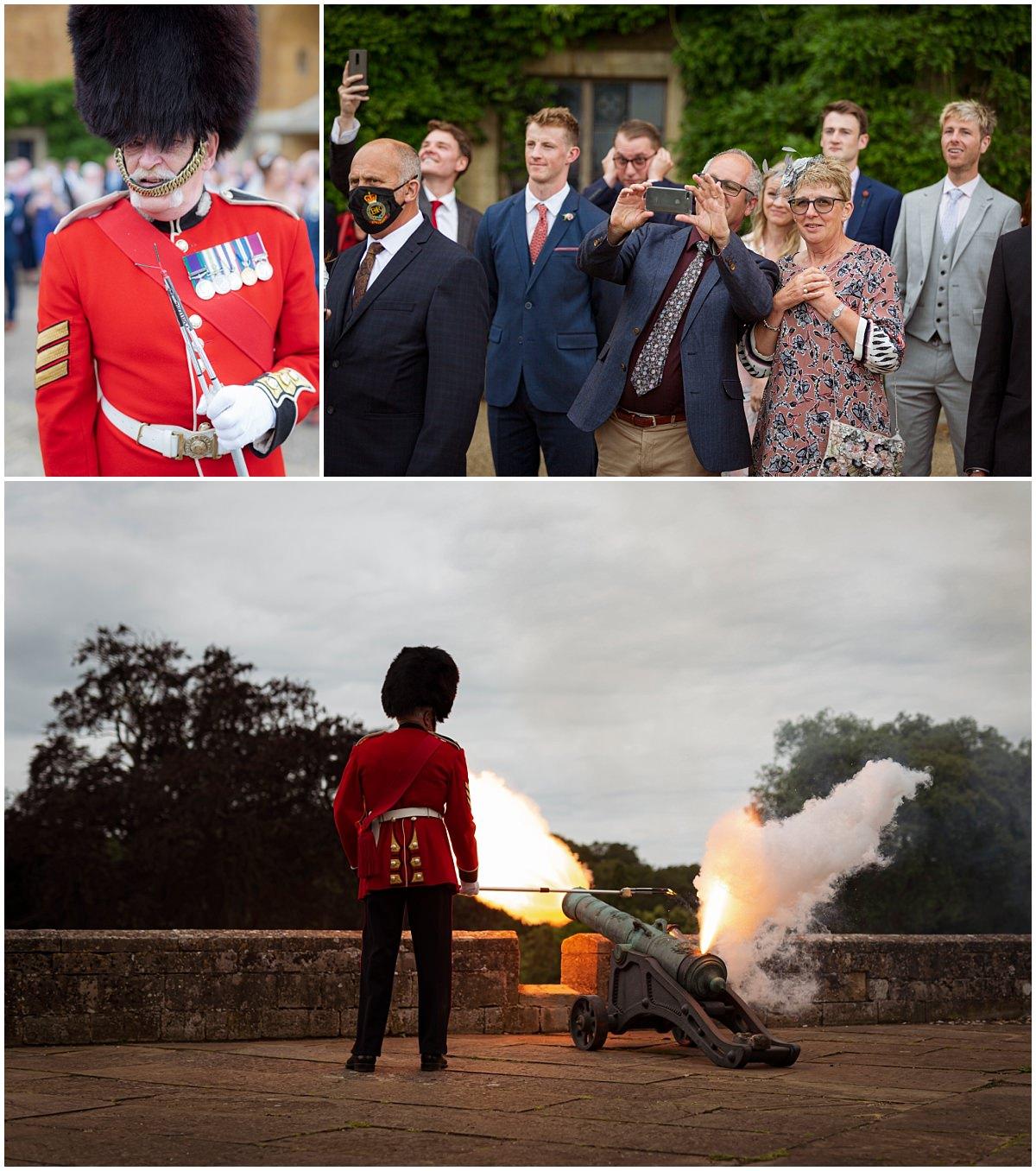 Belvoir Castle Wedding - firing the canons