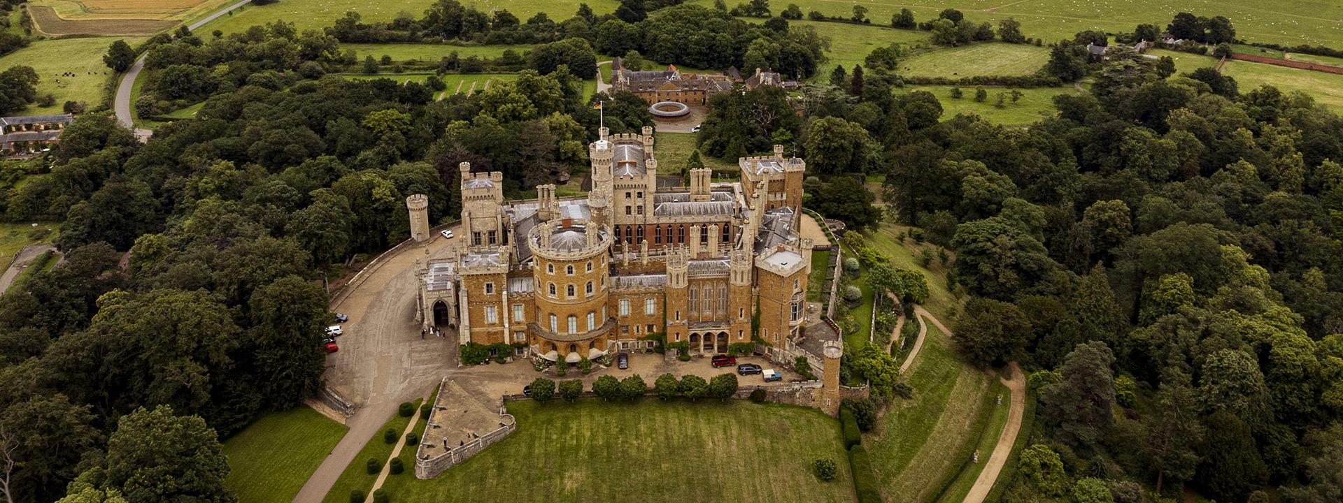 Belvoir Castle Wedding Photography drone image