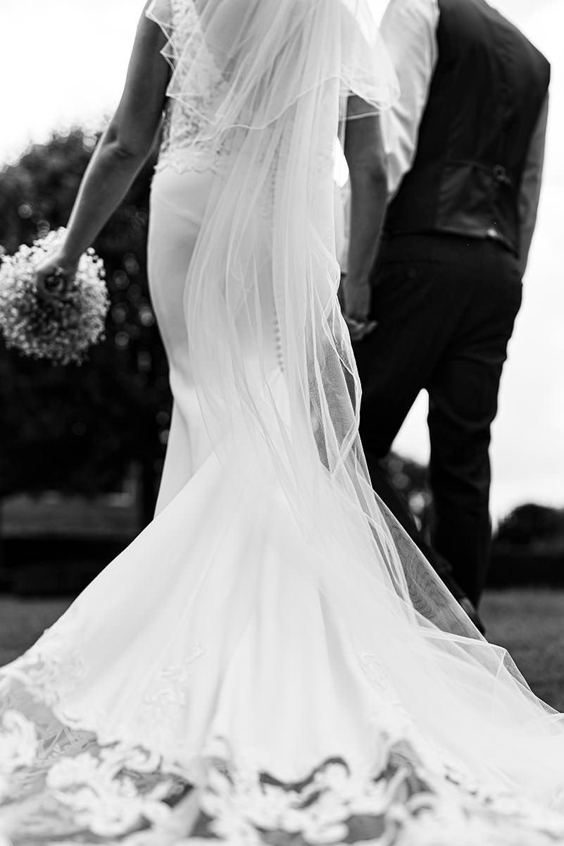 Walking bride adn groom